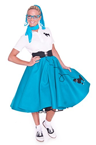 Hip Hop 50s Shop Adult 7 Piece Poodle Skirt Costume Set Teal Medium by Hip Hop 50s Shop