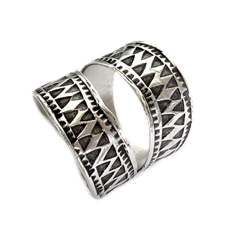 Sterling Silver Ethnic Boho Wide Band Ring, Handmade Tribal Gypsy Adjustable wrap around ring With Geometric Engraving, fit as Thumb Ring, Gift for Her
