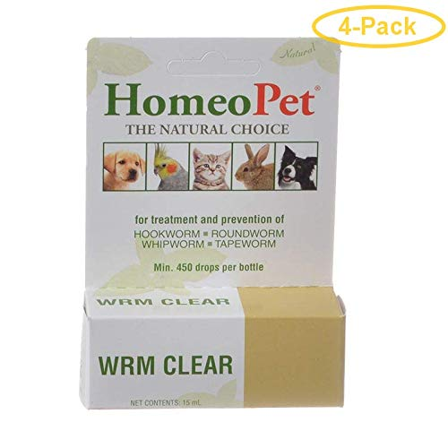HomeoPet WRM Clear for Dogs & Cats Worm Clear - 15 ml - Pack of 4 by HomeoPet