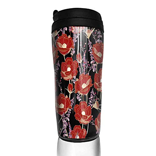 coffee cups warmer Dark night red flower seamless pattern on dark black background for wallpaper book card paper fabric 12 oz,coffee cup holders for wall