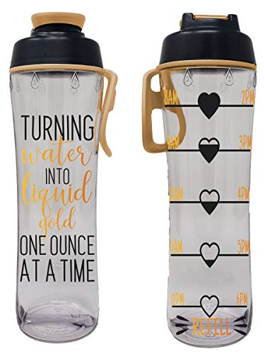 BPA Free Reusable Water Bottle with Time Marker – Motivational Fitness Bottles – Hours Marked – Drink More Water Daily – Tracker Helps You Drink Water All Day -Made in USA (Liquid Gold, 24 oz.)