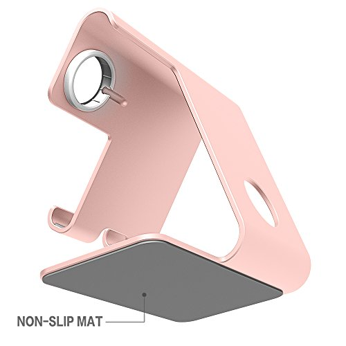 ZVE 2 in 1 Universal Cell Phone Stand AND apple iwatch charging stands dock for iphone6/7/8 X Plus and Tablets(Up to 12.9 inch)-Rose gold