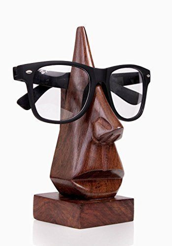 WhopperOnline classic hand made nose shaped witty wooden spectacle holder, eyeglass display stand, eyewear retainer, specs stand, sunglasses holder for men and women (Brown, 6 inch)