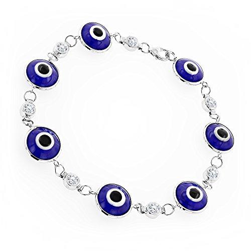 Luxurman 14K Natural 0.7 Ctw Diamond Evil Eye Bracelet Blue Color (White (Eye Diamond Bracelet)
