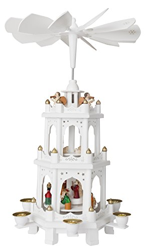BRUBAKER Christmas Pyramid - 18 Inches - White - Wooden Nativity Play - 3 Tier Carousel with 6 Candle Holders - Designed in Germany (Christmas You Tube White)