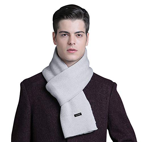CACUSS Men's Cashmere Feel Winter Wool Scarf Super Soft Warm Knitted Scarves with Gift Box (Light gray)