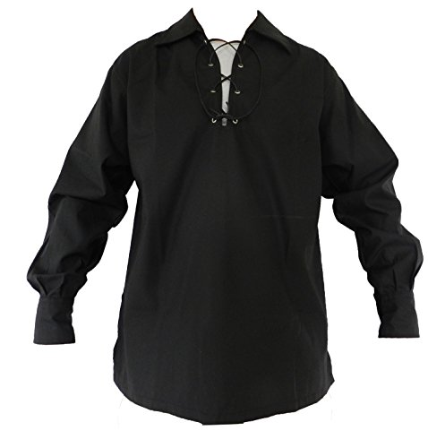 Celtic Clothing Medieval - UT Kilts Jacobite Ghillie Shirt Black X-Large