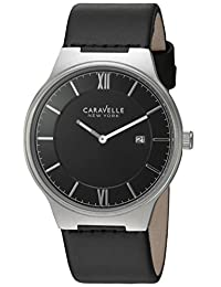 CARAVELLE NEW YORK Mens 43B148 Dress Black Dial Watch