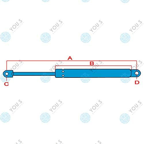 YOU.S X800420446000 Gasfeder f/ür Dachluke L/änge 2 St/ück 225 mm Kraft 120 N