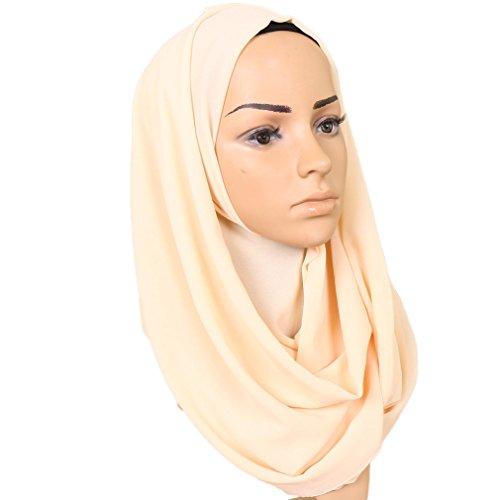 LMVERNA Plain Chiffon Scarf Lightweight Muslim Hijab Long Scarf Shawls wrap Scarves (Beige) by LMVERNA