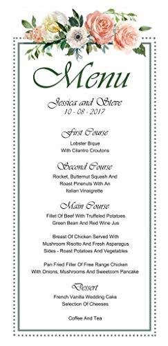 - Darling Souvenir 20 Personalized Wedding Menu Cards (9x4 Inches) Custom Floral Dinner Menu Prints - White