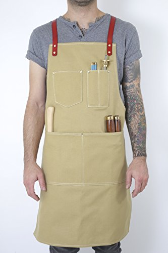 Twig and Bones Canvas and Leather Utility Apron with Pockets - Tan (50s Haircuts)