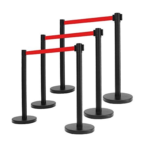 "Apex VIP Series Elite Arena Black Tuff Tex Retractable Belt Stanchions (6 Pcs Set) 40"" H with 6.5 Feet Red Belt"