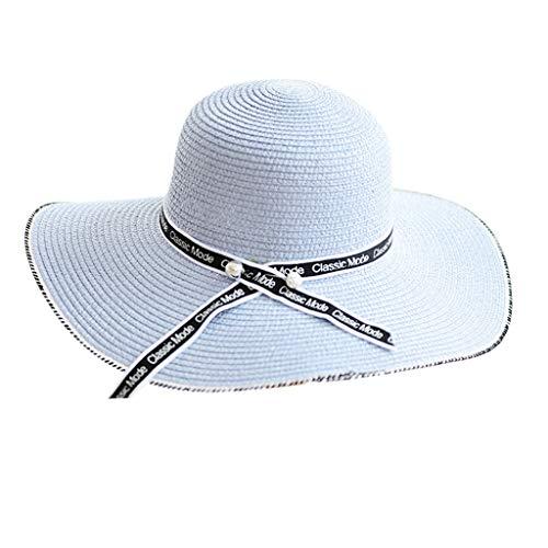 Women's Floppy Packable Straw Hat Beach Cap Classic Western Newsgirl Cap Fedora Flowers Hats UPF 50+ Roll Up Foldable Light - Western Hat Cowboy Style Victorian
