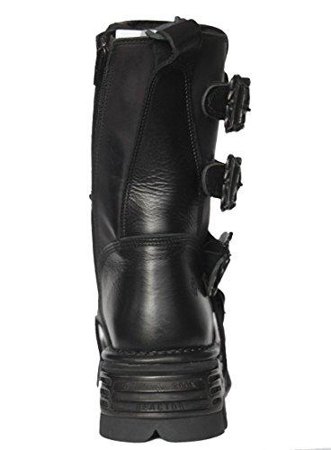 New Rock Unisex Schwarz Metallic Reactor Punk Goth Biker Unisex Schwarz Stiefel mit SchnŸrsenkel und Side Zip