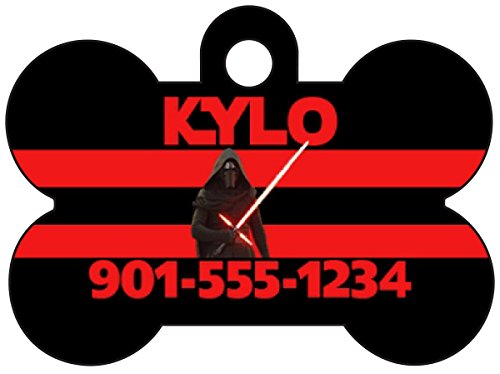 uDesignUSA Disney Star Wars Kylo Ren Custom Pet Id Dog Tag Personalized w/Your Pet's Name & Number ()