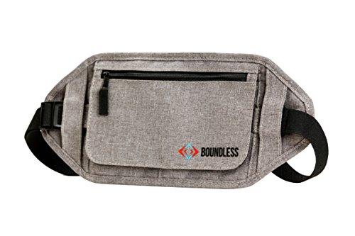 Boundless Money Belt with RFID Blocking - Hidden Travel Wallet & Passport Holder Waist Stash (Gray / Grey)