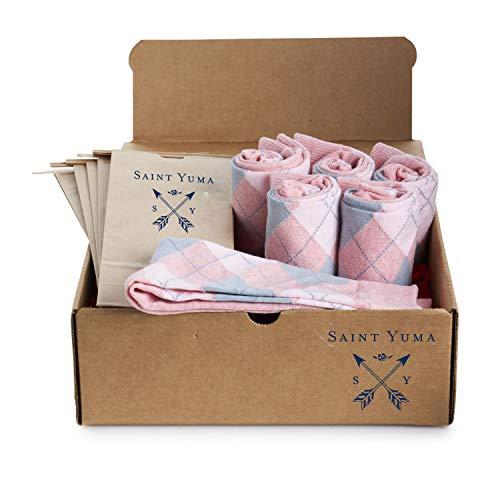 (Groomsmen Socks Set - Saint Yuma - Personalized - Men's Argyle - Light Pink Grey - Premium Cotton - Size 8-13 (6 pairs))