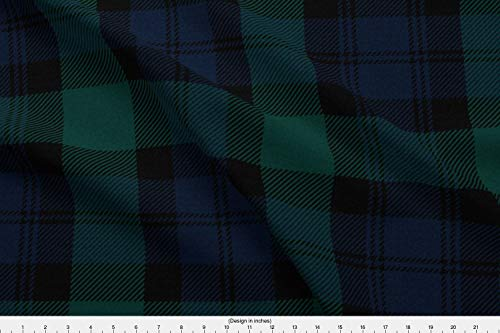 Spoonflower Tartan Fabric - Tartan Plaid Blackwatch Black Watch Preppy Classic - by Peacoquettedesigns Printed on Performance Piqué Fabric by The ()