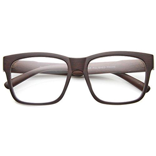 zeroUV - Classic Square Wood Frame Wide Temple Clear Lens Horn Rimmed Glasses 52mm (Darkwood / - Warby Parker Wayfarer