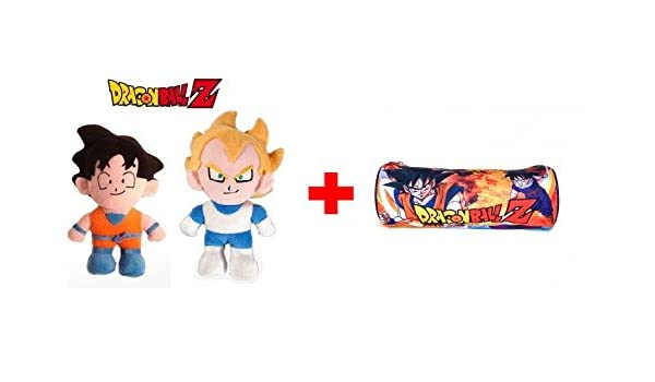 DRAGON BALL: Pack de 2 Peluches: Son Goku super soft 33 cm y Vegeta super soft 35 cm + Estuche-Portatodo cilíndrico 22cm DRAGON BALL con cremallera.