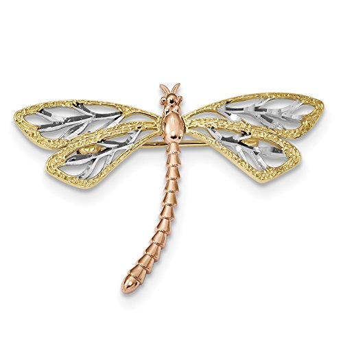 - 14k Yellow White and Rose Gold Polished and Satin Dragonfly Pin