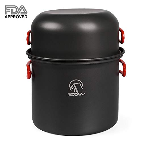 REDCAMP 9 PCS Camping Cookware Set Mess Kit, Lightweight & Compact Backpacking Cooking Set, Anodized Aluminum Camping Pots and Pans Set