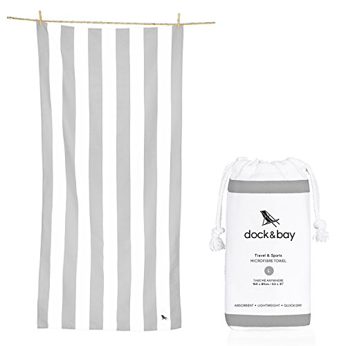 Dock & Bay Compact Towel for Beach (Light Grey, Large 63x31) swim, pool, yoga, travelling - Pastel collection