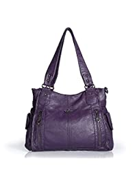 Angelkiss 2 Top Zippers Large Capacity Multi Pockets Purse Handbags for Women/Washed PU Leather Purses/Travel Tote Bags/Crossbody Shoulder Bags 1193
