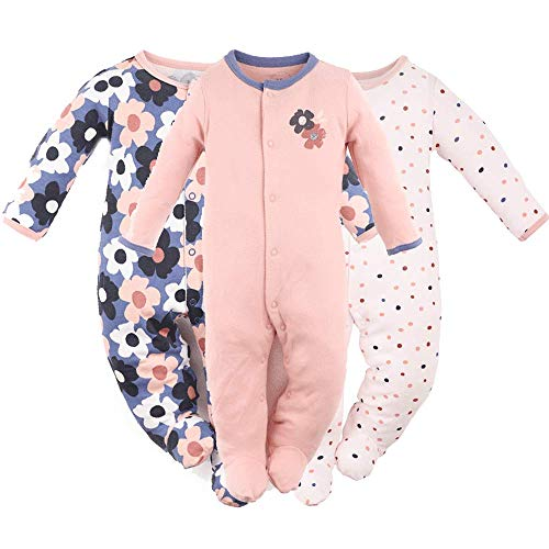 Hisharry Baby Girls Footed Pajamas 3-Pack Cotton Infant Overall Sleeper Play 6-9M