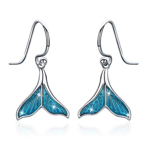 Mermaid Tail Drop Dangle Earrings, 925 Sterling Silver Ocean Sea Whale's Tail Earring for Women Girls Mother's Day (Mermaid Tail Drop Dangle Earrings) ()