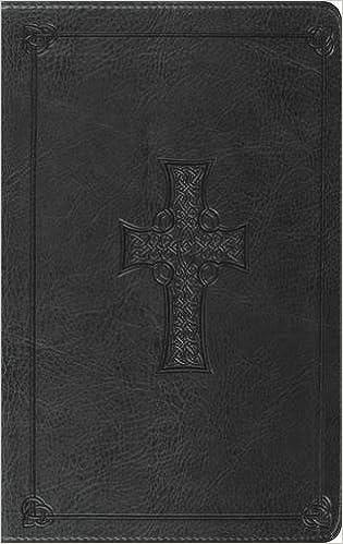 Esv Thinline Bible Trutone Charcoal Celtic Cross Design Red