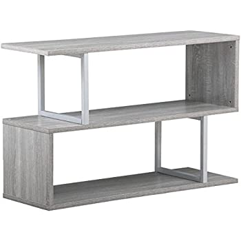 Topeakmart 3 Tier Wood Narrow Hall Console Accent Table S Shaped Bookcase Display  Shelving Unit (