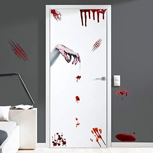 Halloween Bloody Handprints Decals, Scary Bloodstains Wall Window Decals, Ghost Zombie Hands Sticker for Door, Halloween Party Decoration -