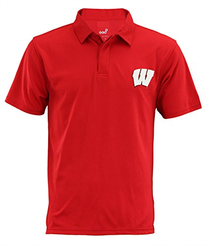 Outerstuff Wisconsin Badgers NCAA Mens Short Sleeve Performance Polo, Red Small by Outerstuff