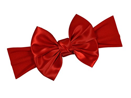 Satin Bow Baby Headband By Funny Girl Designs - Fits Newborn to 1 Year (Red) ()