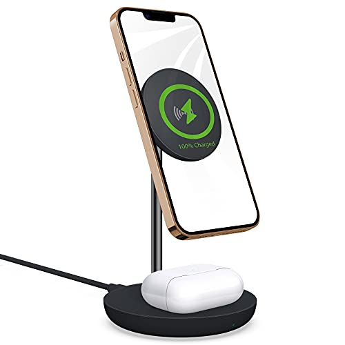 Mag-Safe Wireless Charging Station : 2 in 1 Wireless Charging Stand for iPhone 13 Pro Max -10w Charging Stand Compatible with Airpods/iPhone 12/13 Pro Max Mini(Black)