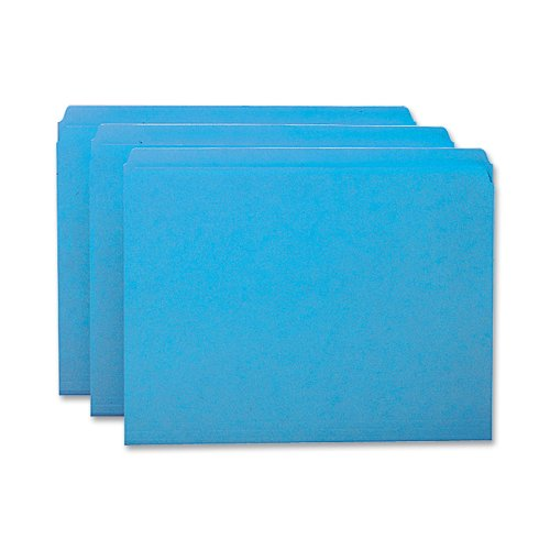 (Smead File Folder, Reinforced Straight-Cut Tab, Letter Size, Blue, 100 per Box (12010))