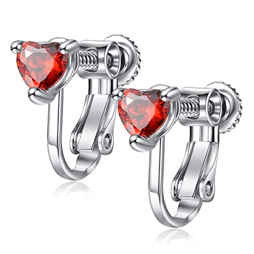 EVBEA Clip on Earrings Studs Hypoallergenic Red Cubic Zirconia Screw on Earrings for Women Heart Girl Jewelry with Gift Box