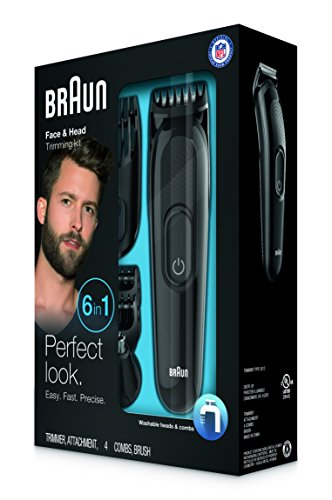 braun multi grooming kit mgk3020 6 in 1 beard hair trimmer for men face and head trimming. Black Bedroom Furniture Sets. Home Design Ideas