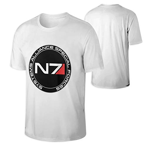 HUANGHOUSTORE Mens Mass Effect N7 Logo Round Neck White T Shirts M