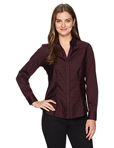 Sateen Stripe Shirt (Foxcroft Women's Long Sleeve Ellen Sateen Stripe Non Iron Shirt, Port, 8)