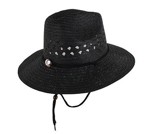 YABINA Foldable Straw Cowboy/Cowgirl Hat with Chin Cord & Elastic Sweatband (Hollow Black)