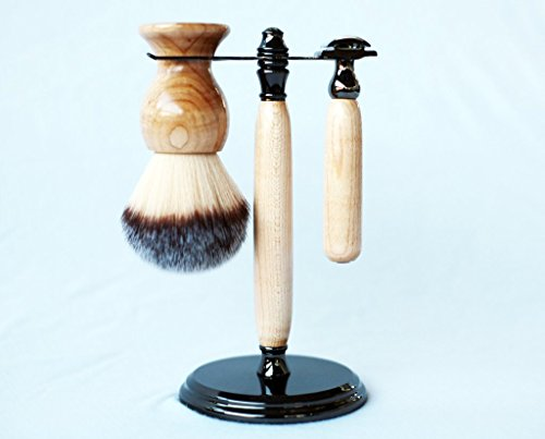 Maple shave set in gunmetal, safety razor, shave brush and matching brush and razor stand. by CreationsByWill