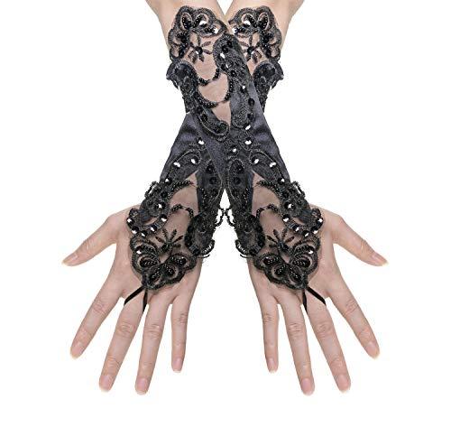 Penta Angel Women Black Lace Evening Opera Gloves