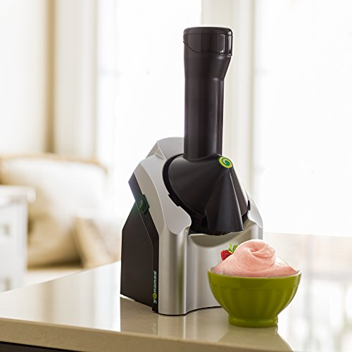 Yonanas Frozen Healthy Dessert Maker – 100% Fruit Soft-Serve Maker (Black and Silver)
