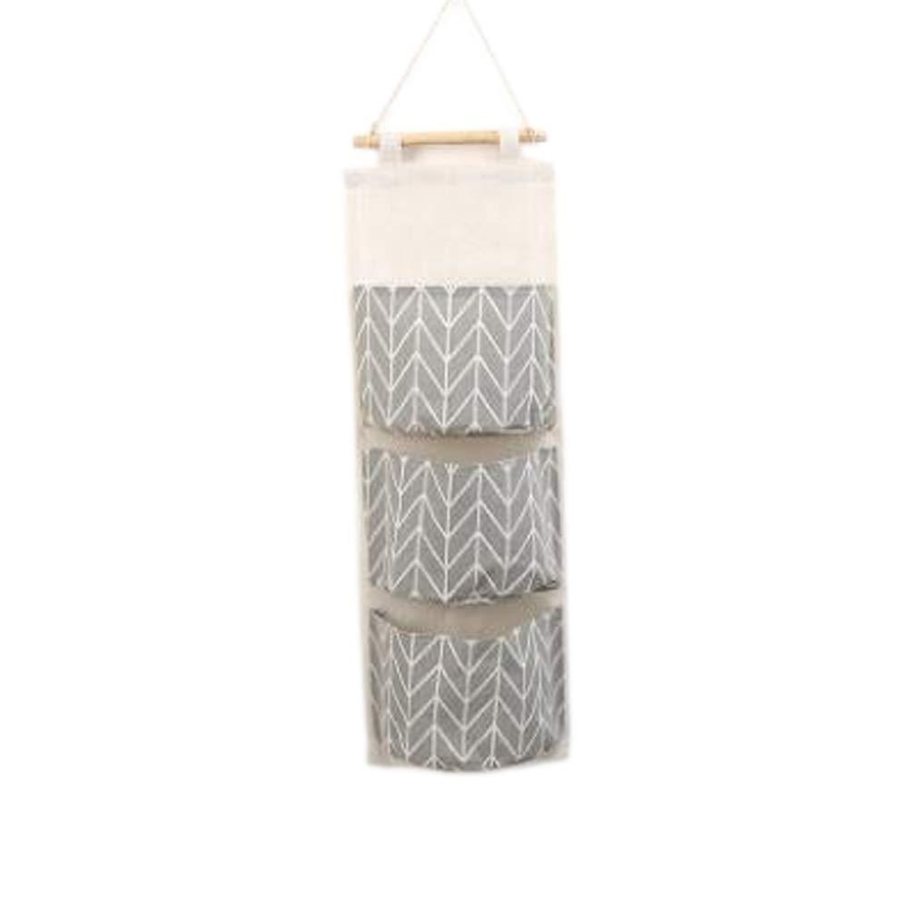 Wall Mount Cotton Storage Bag Waterproof 3 Layers Hanging Linen Storage Bags (Gray) Wanlianinc