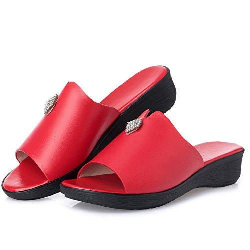 Btrada Fashion Wedge Sandalen Voor Dames Zomer Antislip Glijschoenen Rood