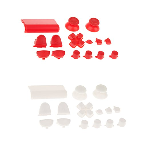 MagiDeal 2 Set L2 R2 L1 R1 Grip Cap Buttons Mod For Sony PS4 Game Console Controller White+Red