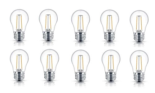 Philips LED A15 Non-Dimmable 110-Lumen, 2000-Kelvin, 2-Watt  (25-Watt Equivalent) Vintage Filament Light Bulb with E26 Medium Base, Soft White, 10-Pack